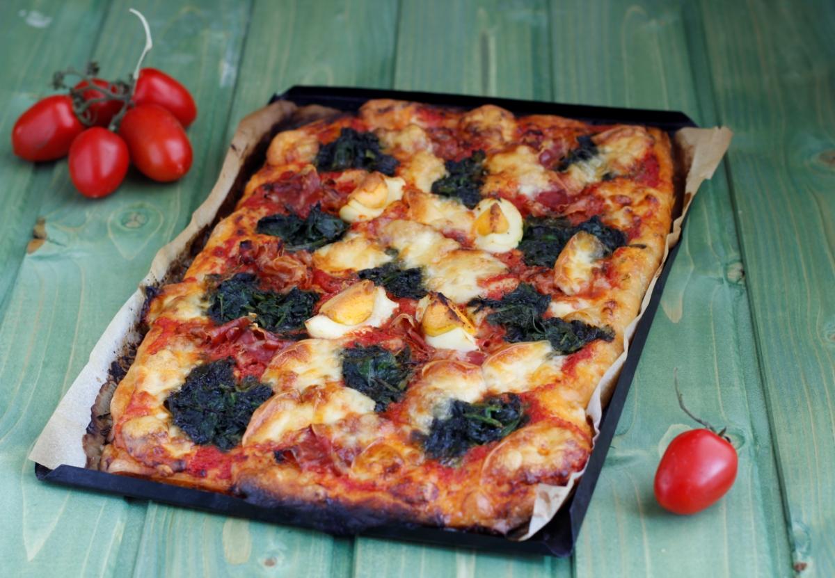 pizza rustica spinaci e pancetta