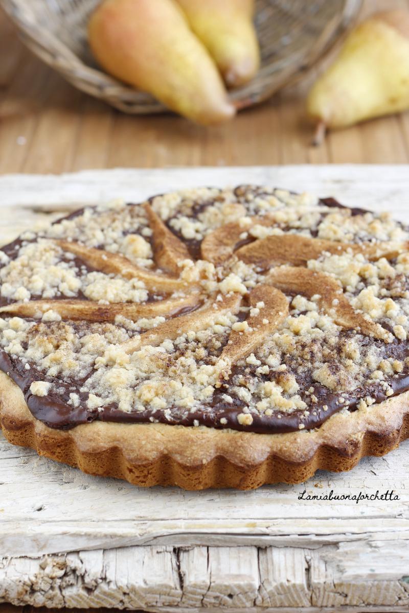 torta crumble pere e cioccolato