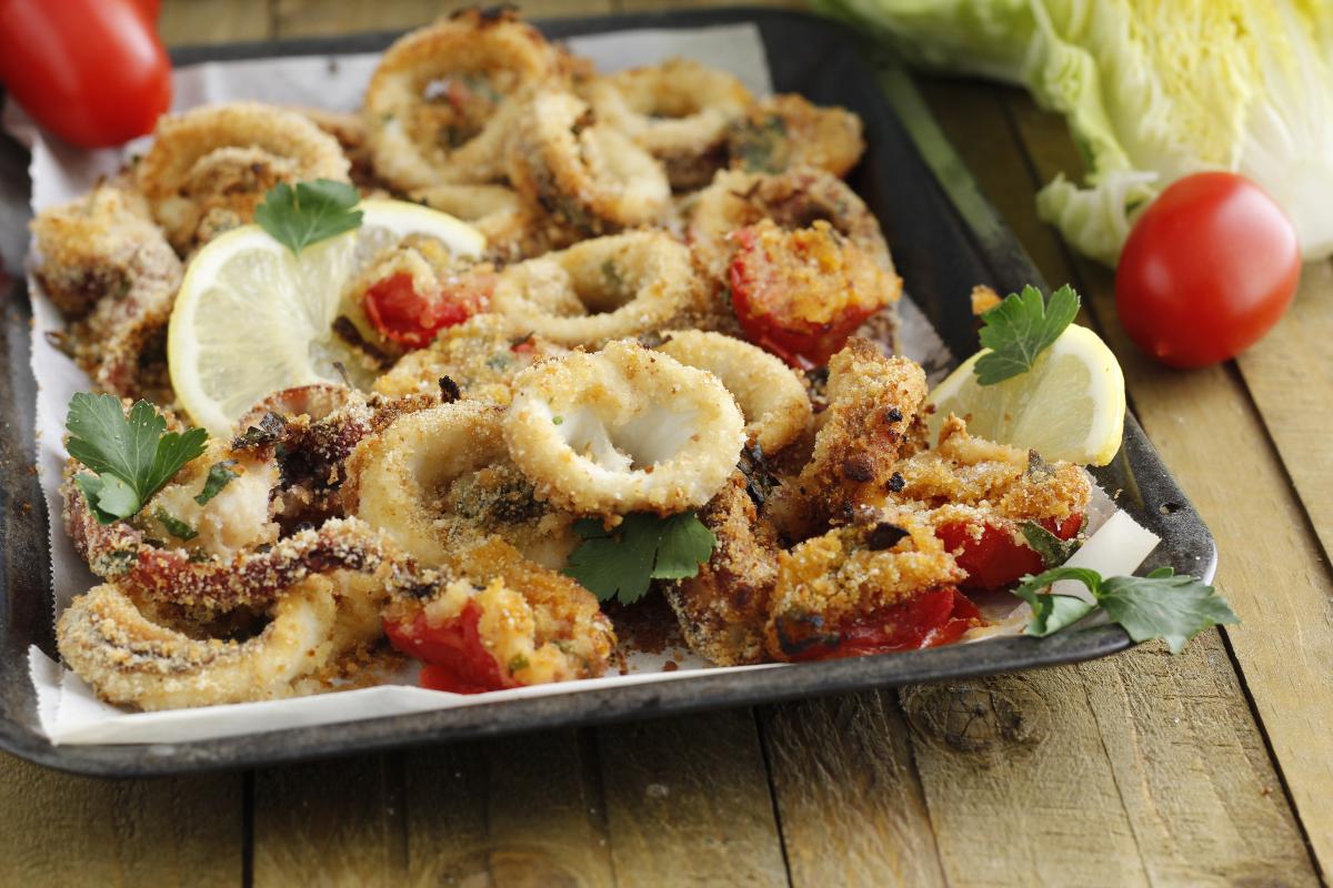 calamari e verdure gratinati al limone
